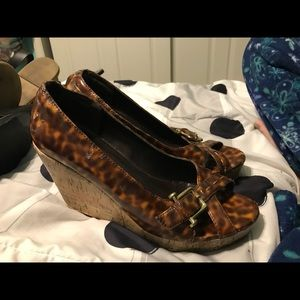 Shoes - Cheetah and cork wedges
